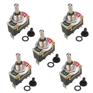 5 Set Waterproof Toggle Flick Switch 12v On Off Car Dash Light 12volt Spst Boats