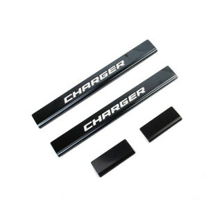 11 18 Dodge Charger Logo Black Anodized Stainless Steel Door Sill Sill Guards