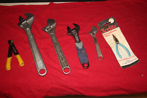 Lot Of 5 Adjustable Wrenches Pliers Strippers Proto 12 Crescent And Other