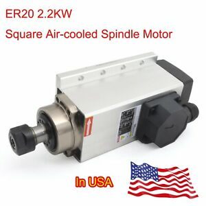 in Usa air cooled Spindle Motor Er20 Square 2 2kw 24000rpm For Cnc Router