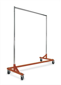 Econoco Commercial Garment Z Rack Hangrail Metal With Tubing Orange Base New