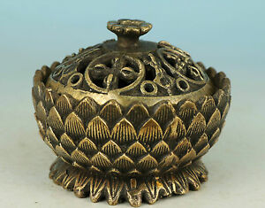 Fine Chinese Old Brass Collection Carved Lotus Statue Buddha Incense Burner