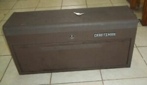 Vintage Heavy Metal Craftsman 7 Drawer Machinist Tool Box Chest W cover keys