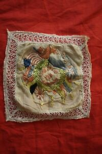 Wwi Hand Embroidered Silk And Lace Square