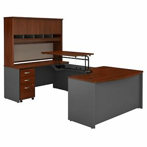 Left Hand 3 Position Sit To Stand U Shaped Desk With Hutch Mobile File Cabinet