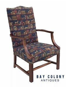 20th C Chippendale Antique Style Library Arm Chair Lolling Chair
