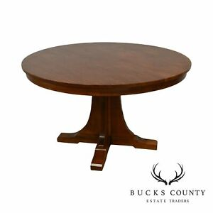Stickley Mission Collection 52 Round Oak Dining Table W 2 Leaves