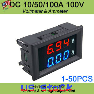 Led Digital Red Voltage Meter Dc100v 10a Voltmeter Ammeter Blue red Led Amp Dual