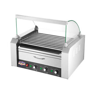 Hot Dog Warmer 9 Roller Grilling Machine Bun Warmer Cover Commercial Cooking