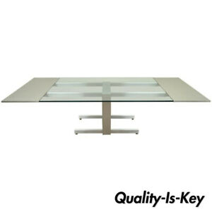 Vladimir Kagan Brushed Aluminum Glass Cubist Extension Dining Conference Table
