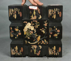 10 Old Chinese Redwood Wood Inlay Shell Dynasty Flower Bird Jewelry Box Cabinet