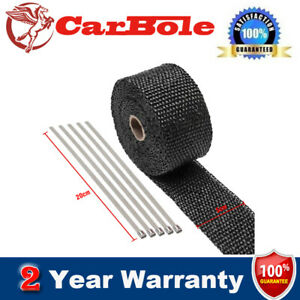 Black Exhaust Manifolds Titanium Heat Wrap Tape With 5 Metal Strips Newly