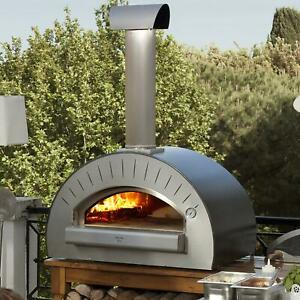 Alfa Quattro 35 inch Outdoor Countertop Wood fired Pizza Oven Silver Gray