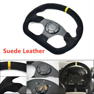 13 Steering Wheel Vehicle Racing Tuning Flat Yellow Suede Leather Drift Sport