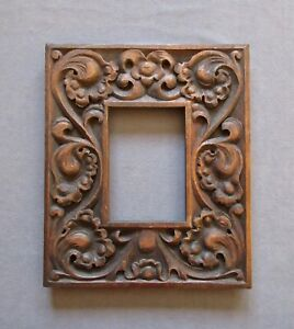 Small Antique Hard Carved Wooden Picture Frame 4 X 6