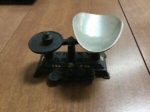Vintage Small Miniature Black Cast Iron Balance Scale