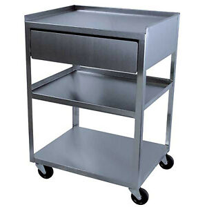 Stainless Service Utility Cart W drawer 3 shelf 16x21in 300lbs Capacity Storage
