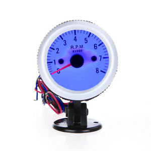 Tachometer Tach Gauge With Holder Cup For Auto 2 52mm 0 8000rpm Blue Light B9h3