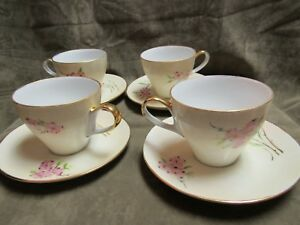 Vintage American Painted Porcelain Dogwood Blossom Pink Cup Saucer Lot 4 Sets