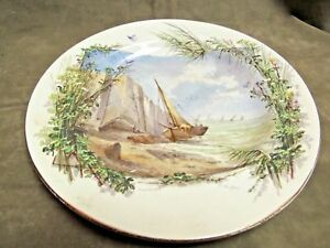 Victorian Artist Signed Hand Decorated Painted White Cliffs Dover England Plate
