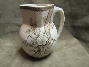 Victorian 1870 S Aesthetic Milk Pitcher Brown Transferware China T
