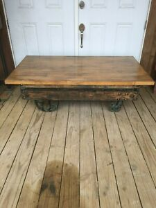 Industrial Salvage Antique Cart Or Trolley Iron Wheels Coffee Table