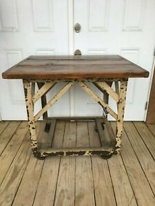 Industrial Salvage Antique Cart Iron Wheels Table