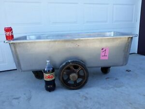 Stainless Steel Butcher Meat Tub On Rollers approximately 55 Gallon 1