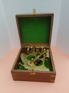 Brass Nautical Sextant With Wooden Box 8 Size
