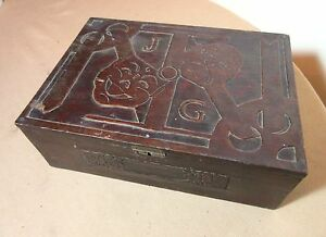 Antique Hand Made Carved Wood Figural Folk Art Theatre Film Acting Mask Box