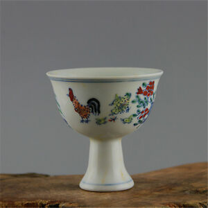 Beautiful Chinese Ming Dou Polychrome Porcelain Chicken Cylinder Cup