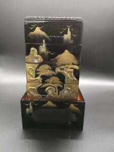 Japanese Hina Doll Miniature Furniture Vtg Wood Lacquer Lunch Bento Girls