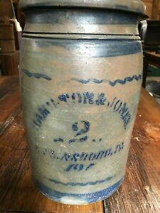 Antique Hamilton Jones Greensboro Pa Number 2 Stoneware Crock Cobalt Decorated