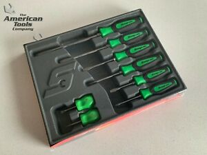 new Snap On 8pc Instinct Soft Grip Green Combination Screwdriver Set Sgdx80bg