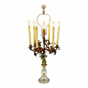 Antique Toleware Candelabra Table Lamp With Marble Base