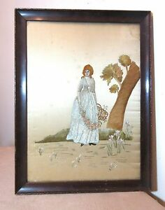 Antique 1800 S Hand Embroidered Figural French Silk Needlepoint Art Sampler