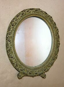 Antique 1800 S Ornate Victorian Hand Carved Gilt Gilded Wood Wall Oval Mirror