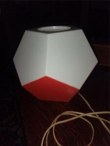 Vintage Mcm Atomic 10 Sided Table Lamp Mid Century Modern Atomic Orange White