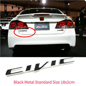 black Metal Logo Emblem Civic Size 18 0x2 0cm For Honda