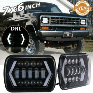 2x 5x7 7x6 150w Led Headlight High Low Drl Beam Fit For Ford E150 250 350 Truck