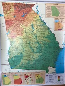 Pull Down School Maps 1 Layer Of Georgia Vintage Salvage Old Antique