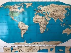 Pull Down School Map Of The World Vintage Salvage Old Antique