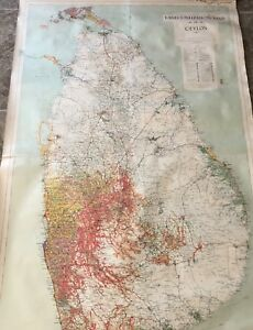 Vintage Pull Down Map Cloth 1 Layer Ceylon Vintage Salvage Antique