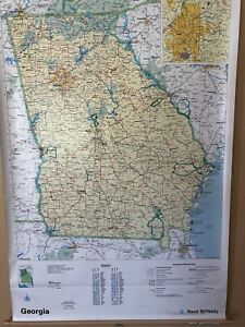Pull Down School Road Map Of The State Of Georgia Vintage Salvage Antique