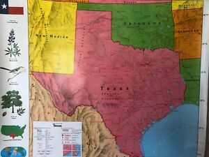 Pull Down School Maps 3 Layer Texas World U S Vintage Salvage Old Antique