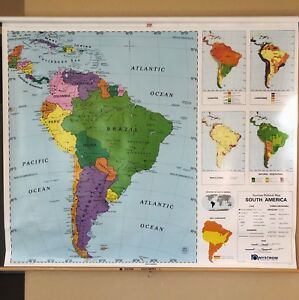 Pull Down School Map 1 Layer South America Vintage Salvage Old Antique