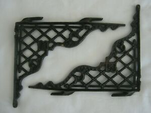 2 Vintage Cast Iron Ornamental Decorative Shelf Corner Brackets Black Lattice