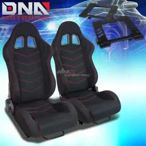 For 99 04 Mustang Sn 95 Bracket type 118 Black Cloth Racing Seat Reclinable X2