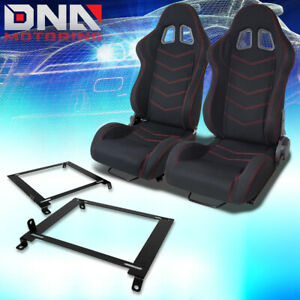 Pair Blk red Stitch Bucket Racing Seats low Mount Bracket For 01 05 Honda Civic
