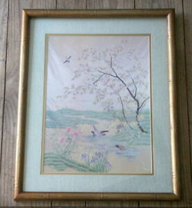 Lithograph Print Of Chinese Embroidered Silk Well Framed